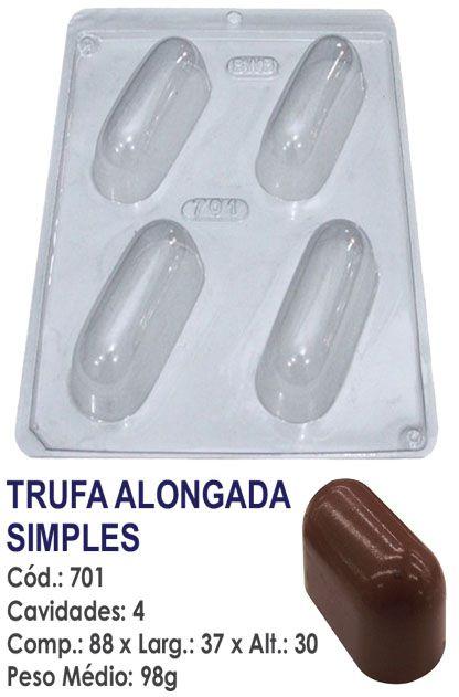 FORMA PLÁSTICA PARA CHOCOLATE BWB TRUFA ALONGADA SIMPLES UN R.701_1916F