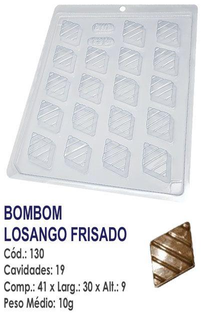 FORMA PLÁSTICA PARA CHOCOLATE BWB BOMBOM LOSANGO FRISADO UN R.130