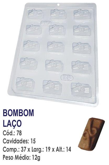 FORMA PLÁSTICA PARA CHOCOLATE BWB BOMBOM RETANGULAR DECORADO LAÇO UN R.78_1571F