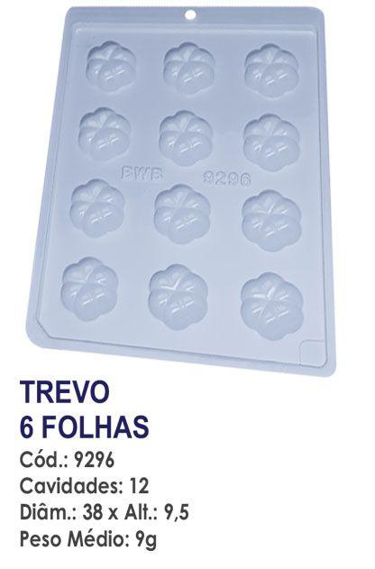 FORMA PLÁSTICA PARA CHOCOLATE BWB BOMBOM TREVO 6 FOLHAS UN R.9296