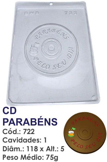 FORMA PLÁSTICA PARA CHOCOLATE BWB CD PARABÉNS UN R.722