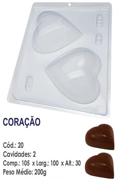 FORMA PLÁSTICA PARA CHOCOLATE CORAÇÃO BWB LISO 200G UN R.20