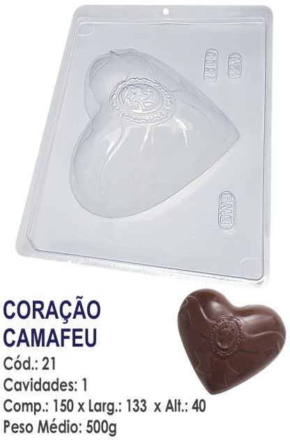 FORMA PLÁSTICA PARA CHOCOLATE CORAÇÃO BWB CAMAFEU 500G UN R.21
