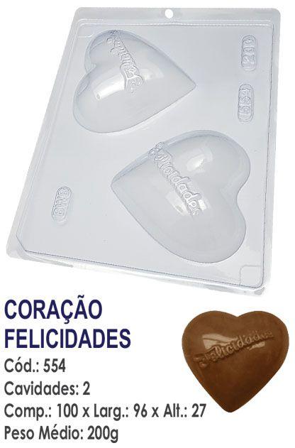 FORMA PLÁSTICA PARA CHOCOLATE CORAÇÃO BWB FELICIDADES UN R.554_105