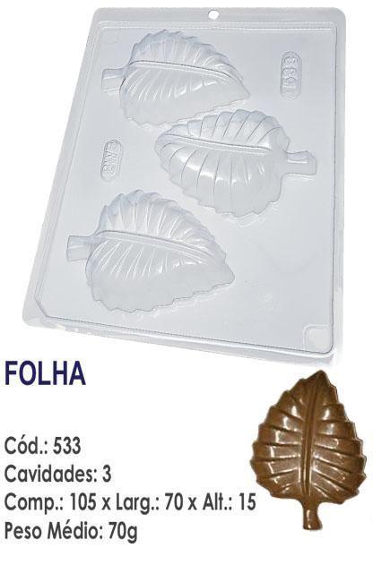 FORMA PLÁSTICA PARA CHOCOLATE BOMBOM BWB FOLHA UN R.533