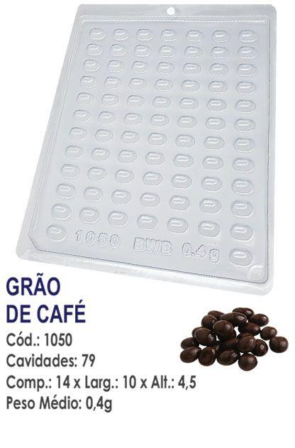 FORMA PLÁSTICA PARA CHOCOLATE BWB BOMBOM GRÃO DE CAFÉ UN R.1050