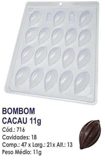FORMA PLÁSTICA PARA CHOCOLATE BWB BOMBOM CACAU 11G UN R.716