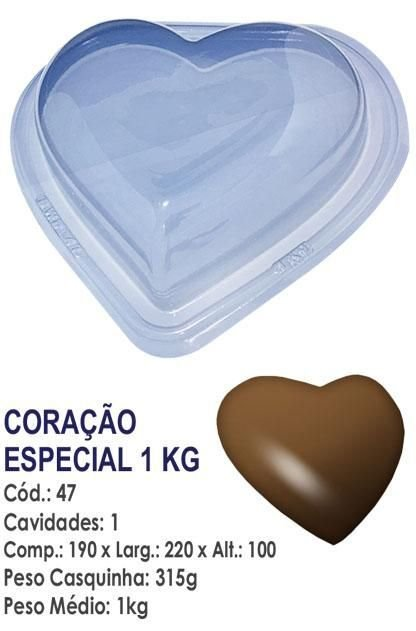 FORMA PARA CHOCOLATE COM SILICONE BWB CORAÇÃO 1KG UN R.47
