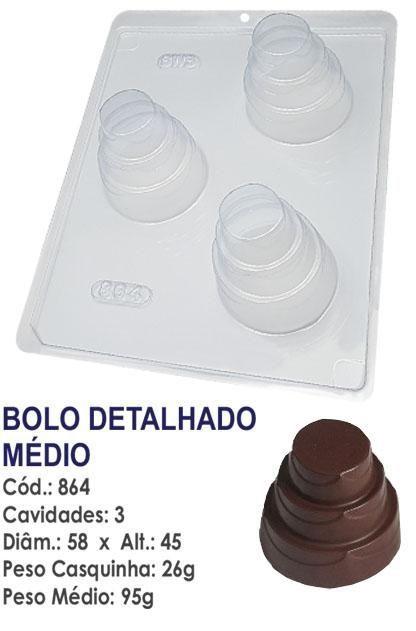 FORMA PARA CHOCOLATE COM SILICONE BWB BOLO DETALHADO MÉDIO UN R.864