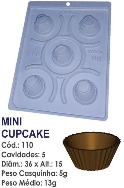 FORMA PARA CHOCOLATE COM SILICONE BWB FORMINHA MINI CUPCAKE UN R.110