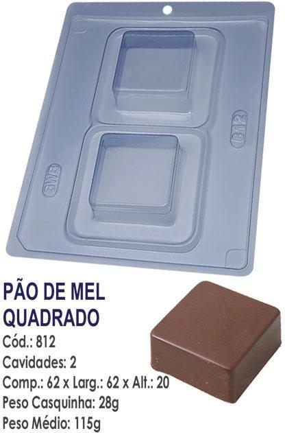 FORMA PARA CHOCOLATE COM SILICONE BWB PÃO DE MEL QUADRADO UN R.812