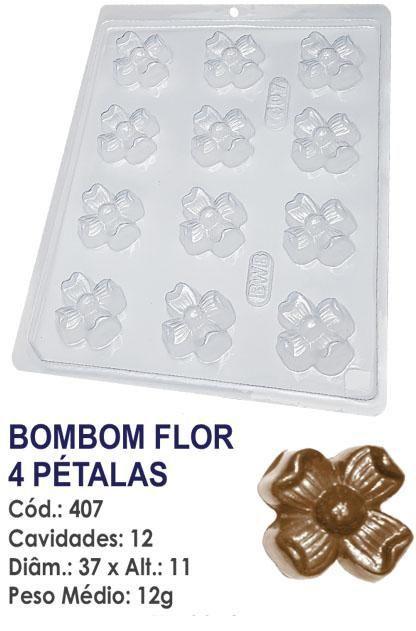 FORMA PLÁSTICA PARA CHOCOLATE BWB BOMBOM FLOR 4 PÉTALAS UN R.407