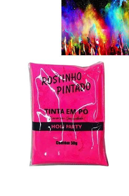 TINTA EM PÓ HOLI PARTY COR ROSA PINK FLUORESCENTE BRILHA NA LUZ NEGRA 50GR UN R.7512