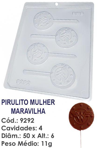 FORMA PLÁSTICA PARA CHOCOLATE BWB PIRULITO MULHER MARAVILHA UN R.9292