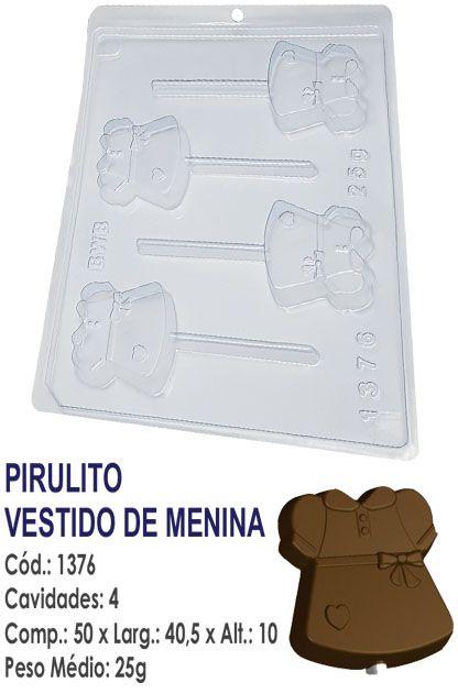 FORMA PLÁSTICA PARA CHOCOLATE BWB PIRULITO VESTIDO DE MENINA UN R.1376