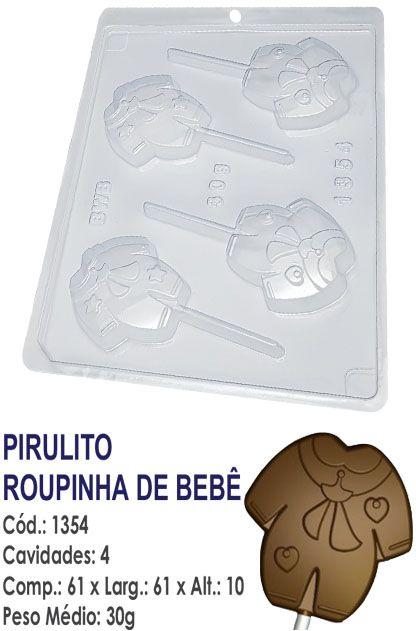 FORMA PLÁSTICA PARA CHOCOLATE BWB PIRULITO ROUPINHA DE BEBÊ UN R.1354