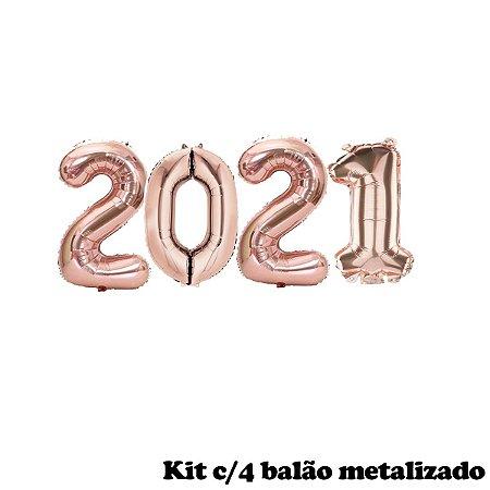 KIT BALÃO METALIZADO NÚMERO 2021 ROSE GOLD MÉDIO 75CM