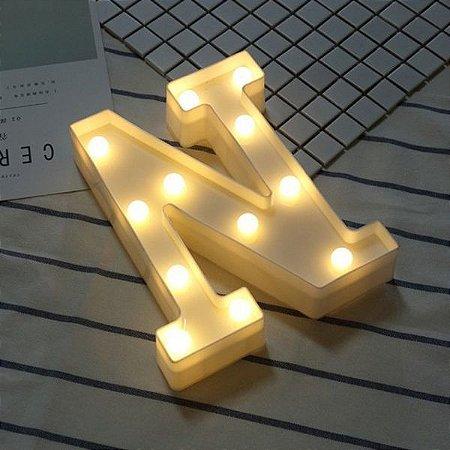 LUMINARIA DE LED LETRA N COR BRANCA LED 3D DECORATIVA FESTA UN R.N