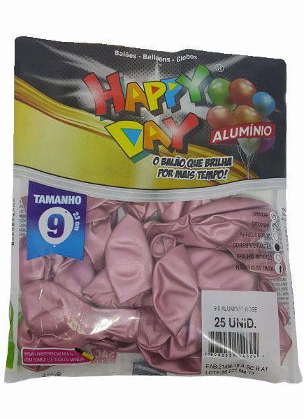 BALÃO BEXIGA HAPPY DAY ALUMINIO ROSE Nº9 EM LÁTEX C/25UN