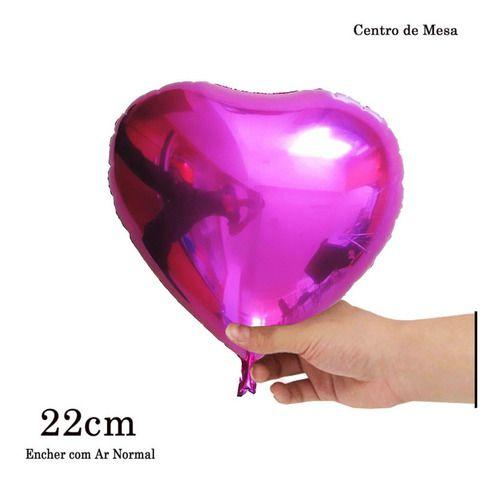 BALAO METALIZADO CORACAO PINK 22CM C/10UN