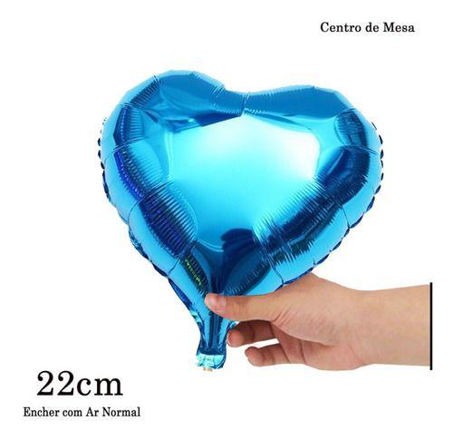 BALAO METALIZADO CORACAO AZUL 22CM C/10UN