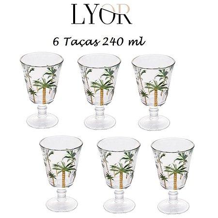 Jogo com 6 Taças de Cristal Palm Hand Painting 240ml Lyor