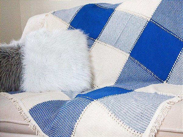 Manta Para Sofá 1.40mt X 1.50mt Azul Com Bainha Aberta