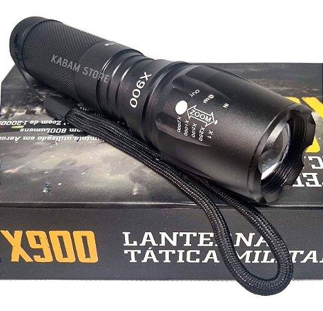 Lanterna Tática Militar X900 Recarregável Com Zoom Completa