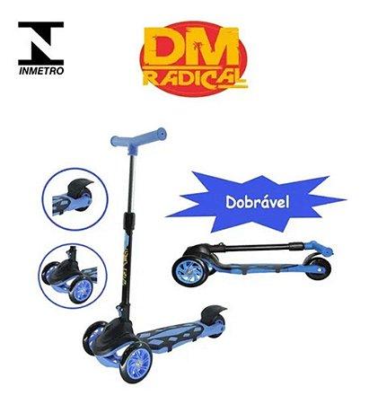 Patinete Infantil Scooter Power 3 Rodas Azul e Freio Dobrave