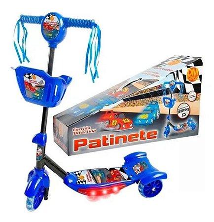 Patinete 3 Rodas Infantil Musical Com Luzes E Cesta Azul