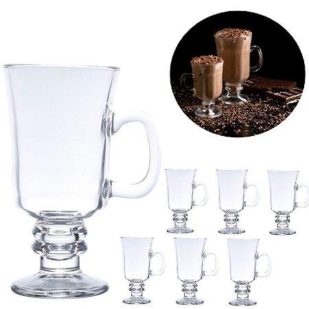 Conjunto 6 taças xícaras canecas copos cappuccino café Lyor