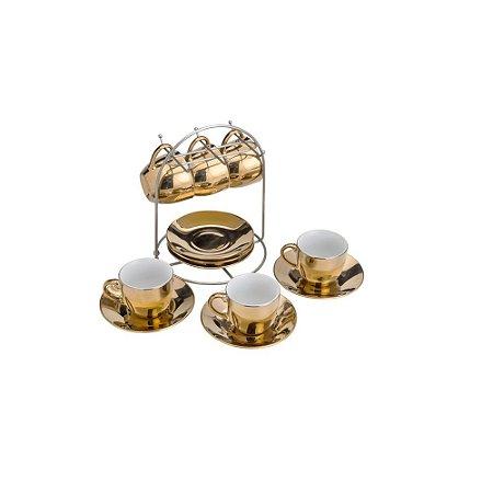Conjunto de 6 xícaras e pires suporte café chá dourado Lyor