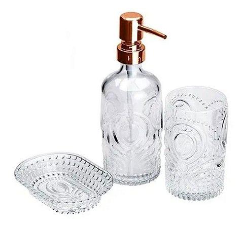 Kit 3 Pçs Banheiro Lavabo Porta Sabonete Líquido Escova Lyor
