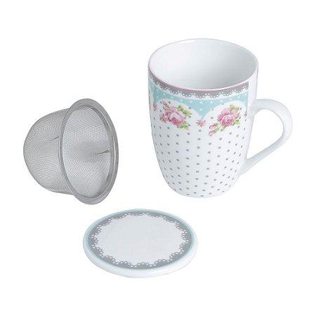Caneca de chá Infusora em Porcelana e Tampa 310ml Verde Lyor