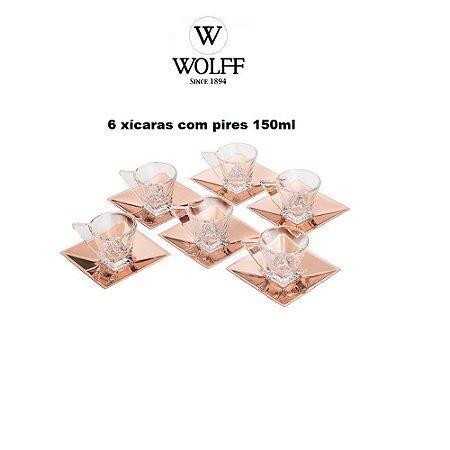 Jogo de 6 Xícaras de Vidro p/ Chá C/Pires Veneza Rose 60ml