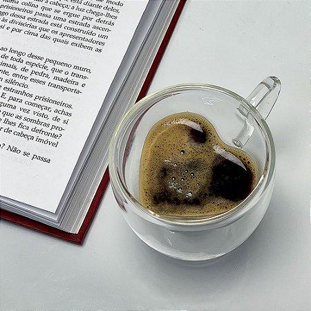 CJ 2 Xícaras de Café Expresso Parede Dupla 80ml Coração Lyor