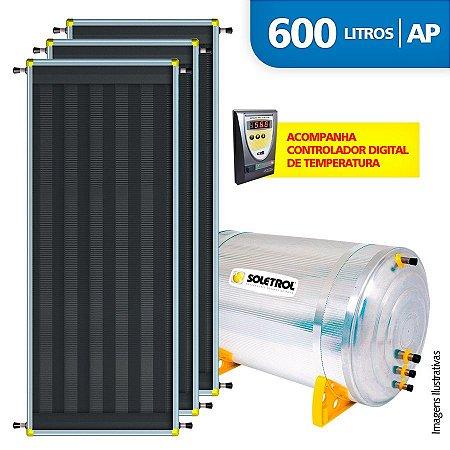 Aquecedor Solar Soletrol 600 Litros Digital com 3 Coletores Solares de 2.0m² - Alta Pressão