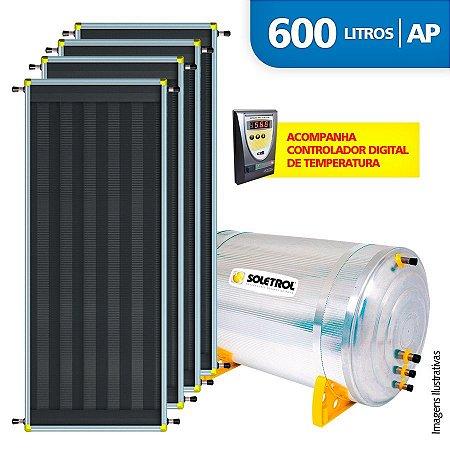 Aquecedor Solar Soletrol 600 Litros Digital com 4 Coletores Solares de 2.0m² - Alta Pressão