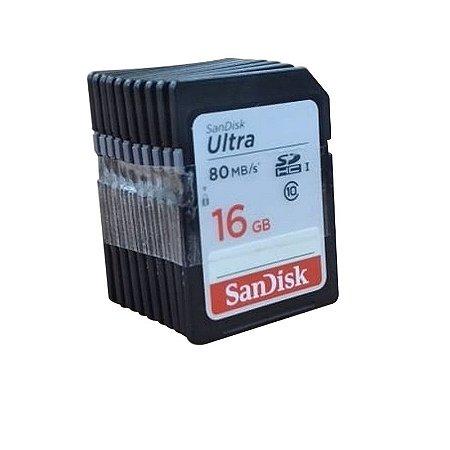 Kit com 10 Cartões de Memória Sandisk Ultra 16gb Sdhc I - Preto