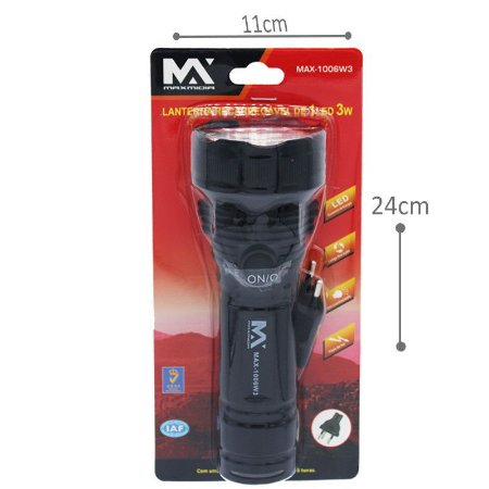 Lanterna manual recarregável 3w