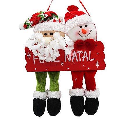 Enfeite de Natal - Papai Noel e Boneco de Neve