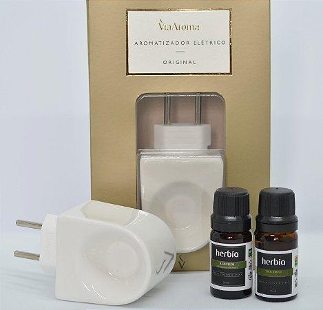 Kit Aromaterapia com Difusor Via Aroma e Óleos Essenciais de Alecrim e Melaleuca Herbia