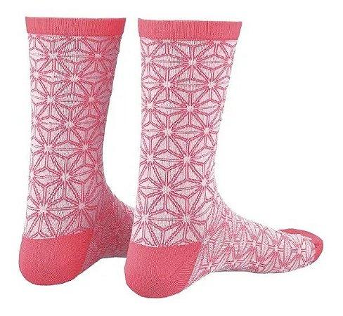 Meia Supacaz Asanoha Branca e Pink P/M