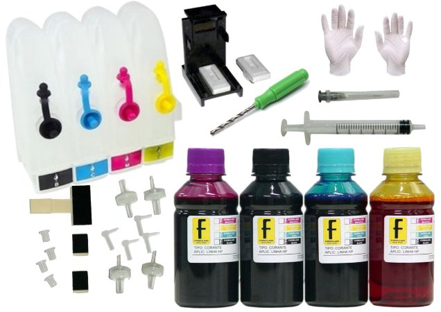 Kit Bulk Ink HP P/ Impressoras + Snap Fill + Verruma + 400ml Tintas (100ml de cada cor) 92 93 21 22 122 664 662 901 60 XL HP 2546 1516 3516 2136 1115 2576 3775 3776 5775