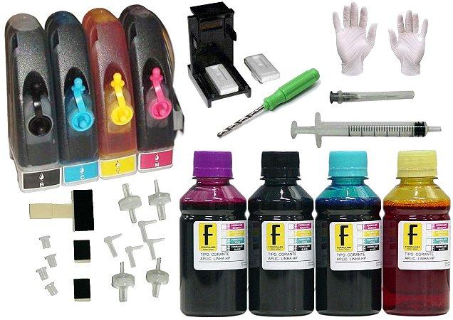 Kit Bulk Ink HP P/ Impressoras + Snap Fill + Verruma + 400ml Tintas (100ml de cada cor) 92 93 21 22 122 664 60 XL HP 2546 1516 3516