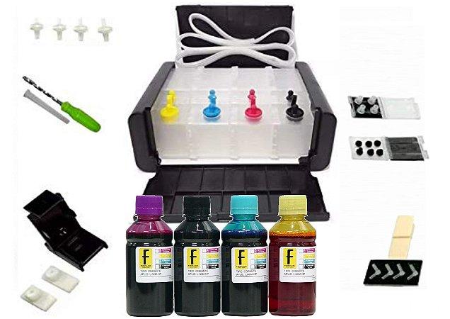 Kit Bulk Ink Elegance Luxo P/ Impressoras HP + Snap Fill + Verruma + 400ml Tintas (100ml de cada cor) 92 93 21 22 122 664 662 60 XL / 2546 1516 3516 2136 2676 3776 1115