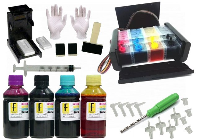 Kit Bulk Ink CANON ELEGANCE LUXO P/ Impressoras + Snap Fill + Verruma + 400ml Tintas (100ml de cada cor) PG CL MX 40 41 30 31 210 211 TS 3110 MG 2410 MG2910 3010 3510 E481  PIXMA Tanque