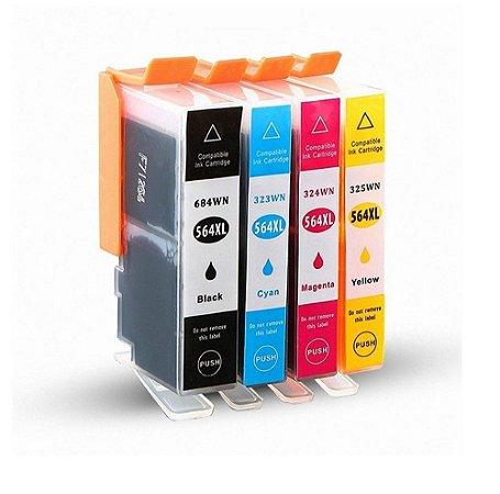 Kit 4 Cartucho Compativel 564 564xl B110 B210 C309 C310 C410 4 Tinta Preto Amarelo Magenta e Cyan 4 Cores Compatíveis Novos
