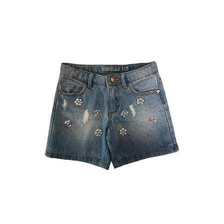 Shorts Jeans ZARA Infantil com Apliques