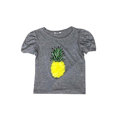 Camiseta ZARA Feminina Cinza Abacaxi